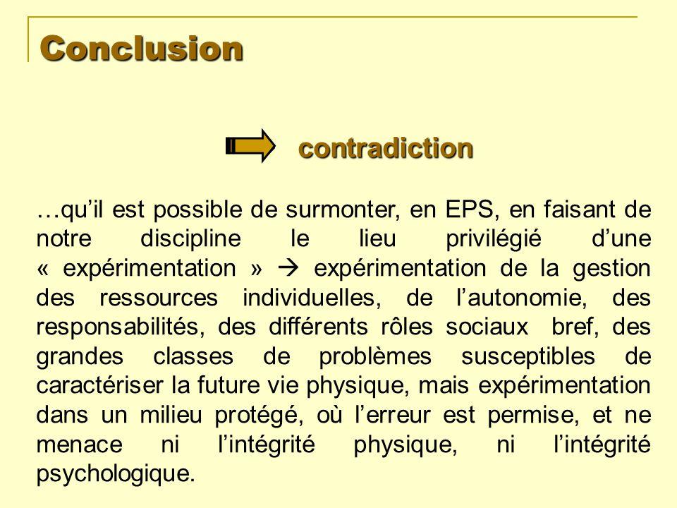 Conclusion …quil est possible de surmonter, en EPS, en faisant de notre discipline le lieu privilégié dune « expérimentation » expérimentation de la g