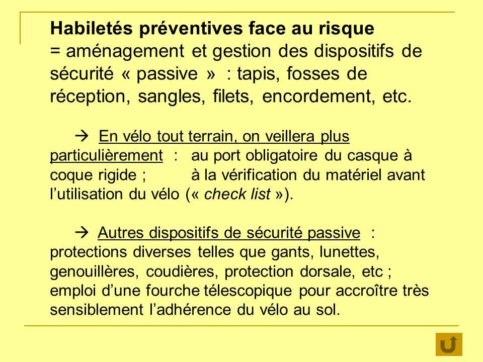 Habiletés préventives face au risque = aménagement et gestion des dispositifs de sécurité « passive » : tapis, fosses de réception, sangles, filets, e