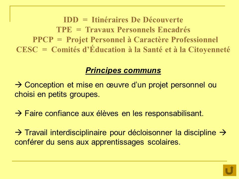 IDD = Itinéraires De Découverte TPE = Travaux Personnels Encadrés PPCP = Projet Personnel à Caractère Professionnel CESC = Comités dÉducation à la San