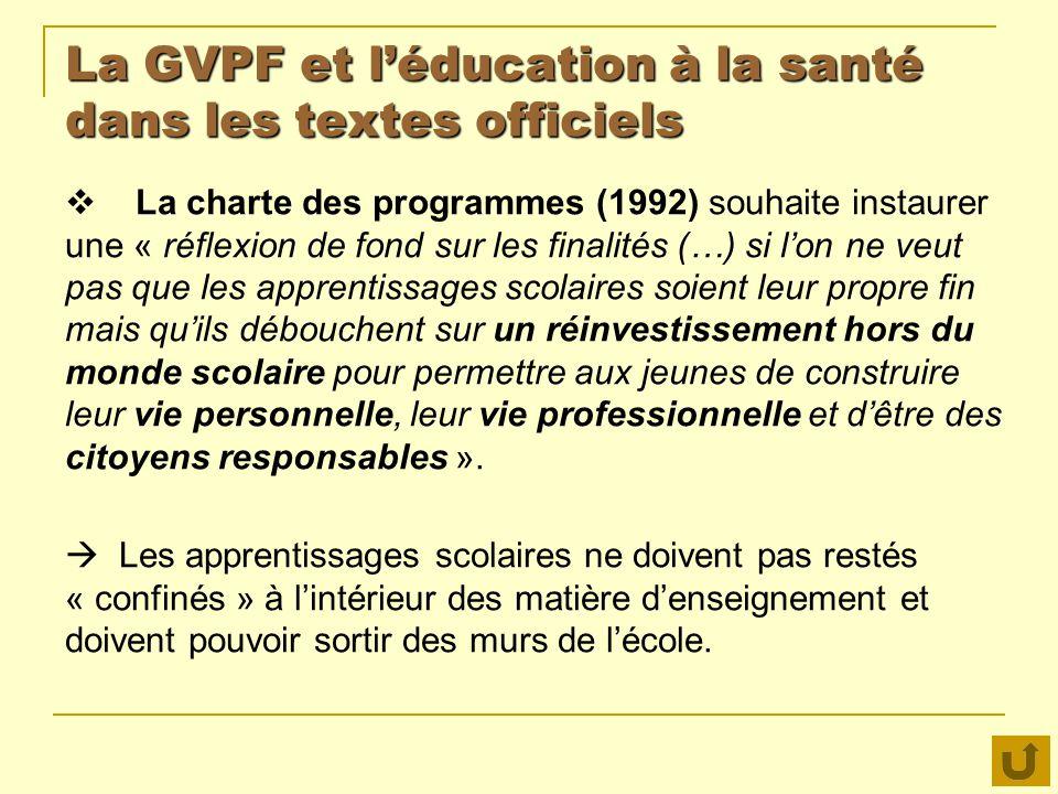 La GVPF et léducation à la santé dans les textes officiels La charte des programmes (1992) souhaite instaurer une « réflexion de fond sur les finalité