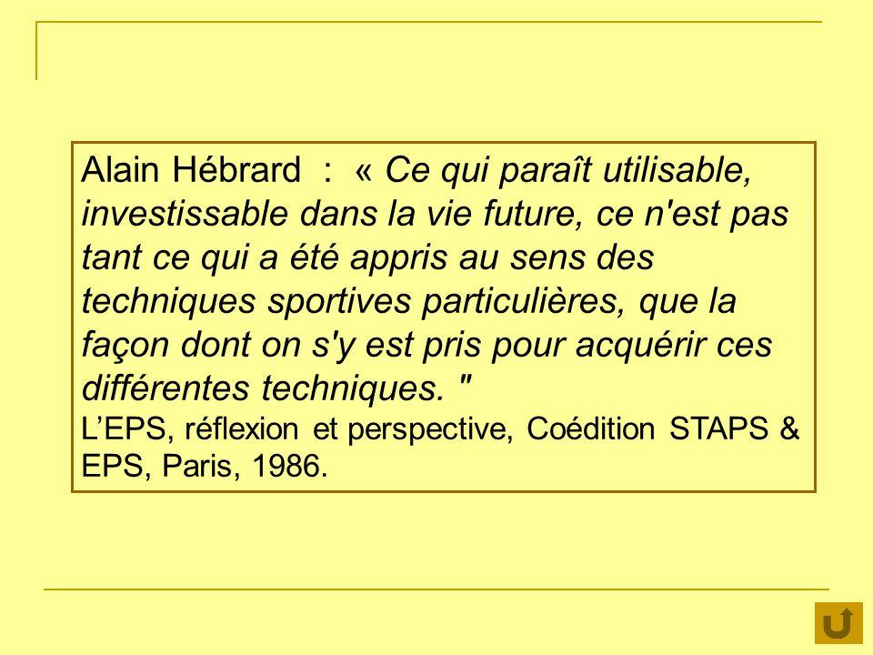 Alain Hébrard : « Ce qui paraît utilisable, investissable dans la vie future, ce n'est pas tant ce qui a été appris au sens des techniques sportives p