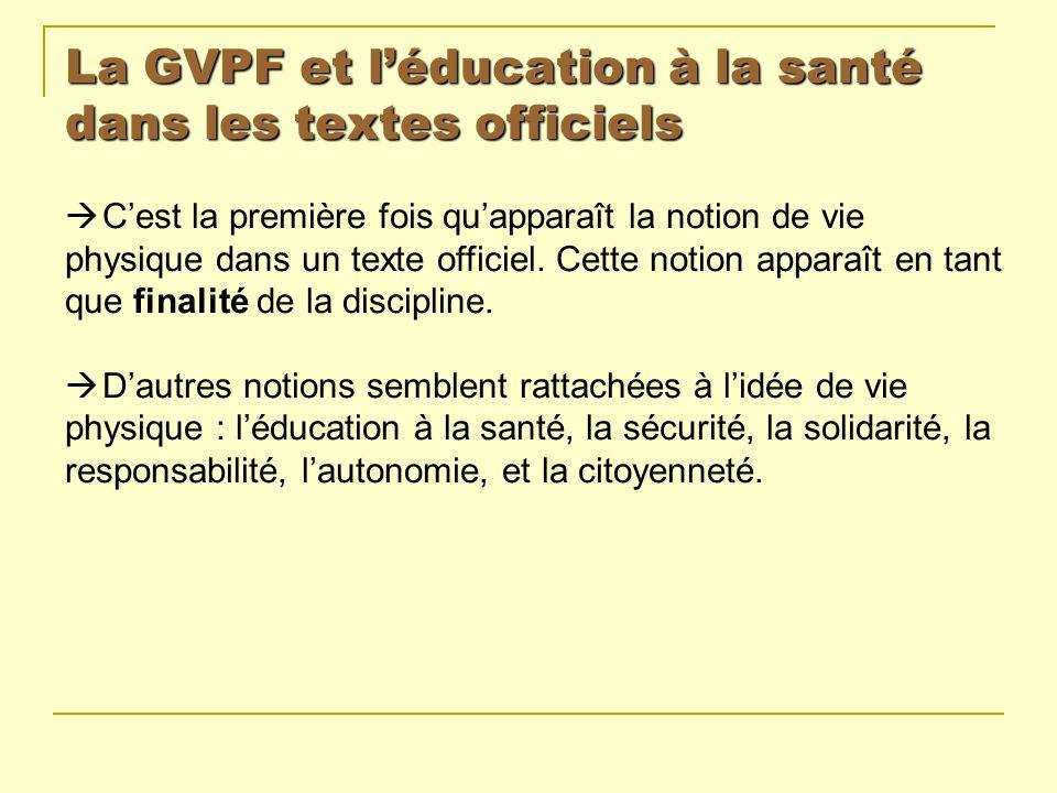 La GVPF et léducation à la santé dans les textes officiels Cest la première fois quapparaît la notion de vie physique dans un texte officiel. Cette no