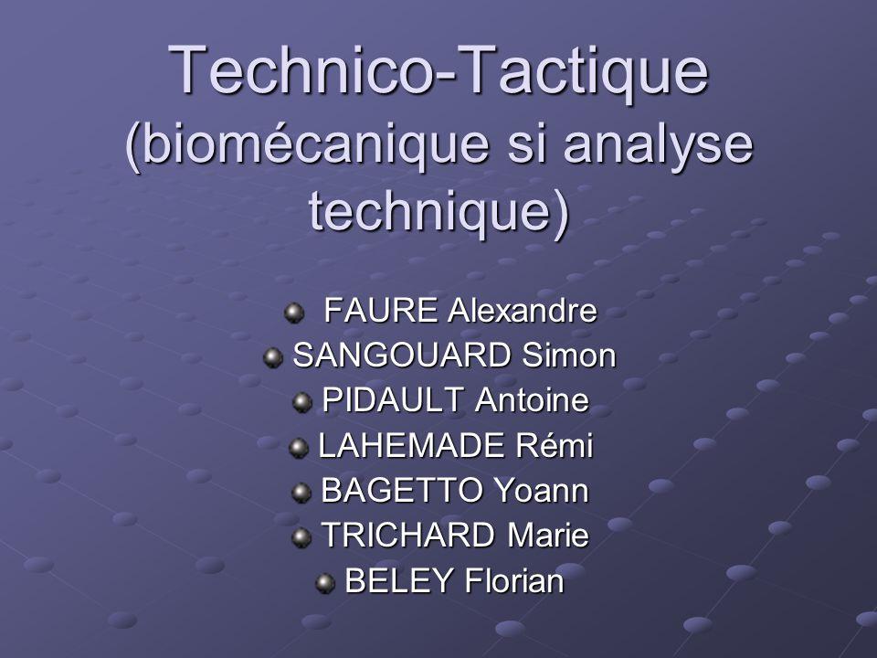 Technico-Tactique (biomécanique si analyse technique) FAURE Alexandre FAURE Alexandre SANGOUARD Simon SANGOUARD Simon PIDAULT Antoine PIDAULT Antoine