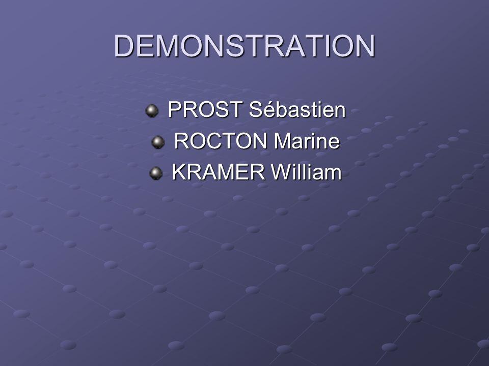 DEMONSTRATION PROST Sébastien PROST Sébastien ROCTON Marine ROCTON Marine KRAMER William KRAMER William