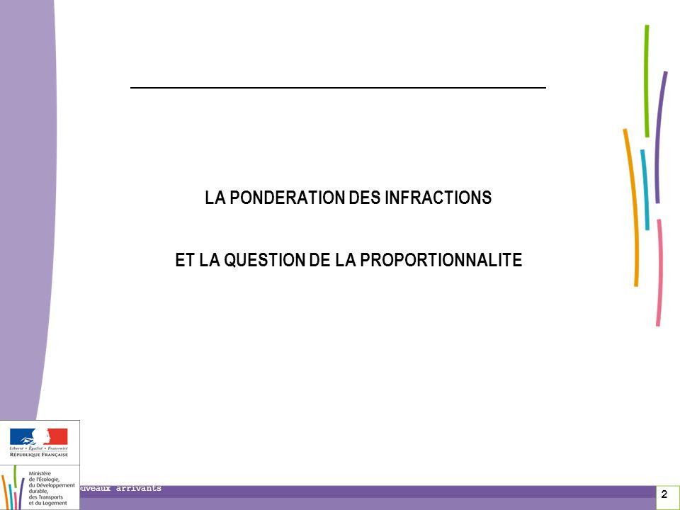 2 Nouveaux arrivants LA PONDERATION DES INFRACTIONS ET LA QUESTION DE LA PROPORTIONNALITE