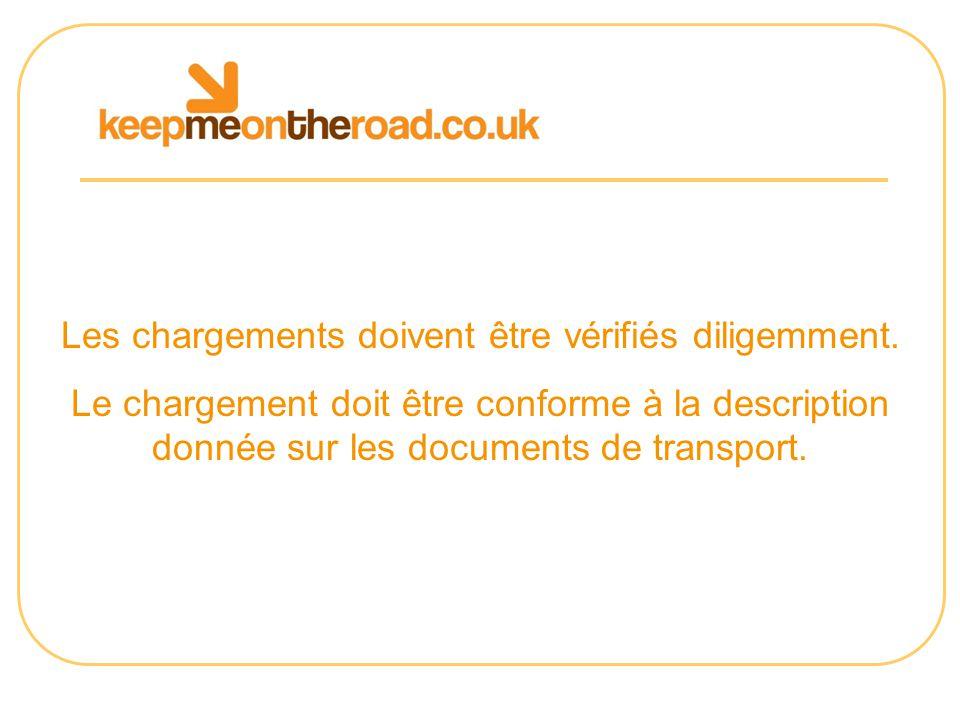 Les chargements doivent être vérifiés diligemment. Le chargement doit être conforme à la description donnée sur les documents de transport.