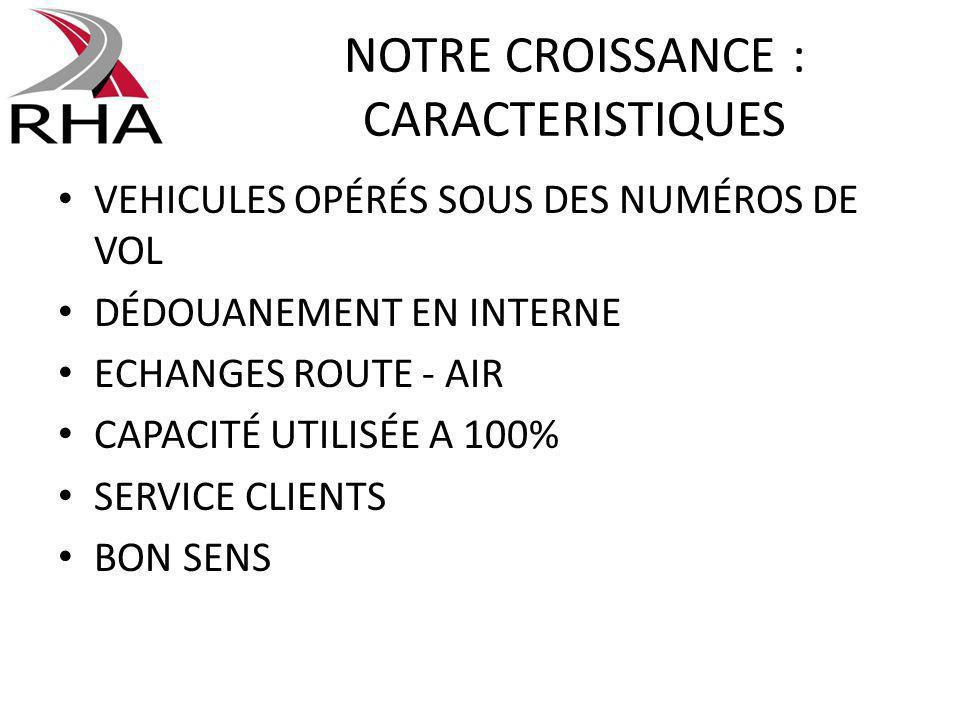 NOTRE CROISSANCE : CARACTERISTIQUES VEHICULES OPÉRÉS SOUS DES NUMÉROS DE VOL DÉDOUANEMENT EN INTERNE ECHANGES ROUTE - AIR CAPACITÉ UTILISÉE A 100% SER