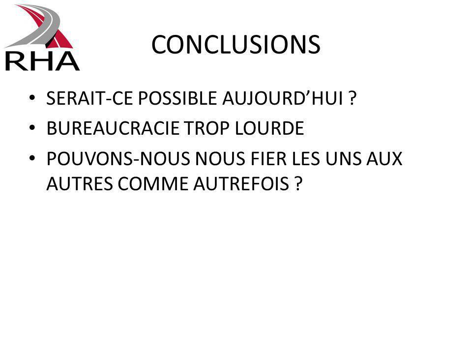 CONCLUSIONS SERAIT-CE POSSIBLE AUJOURDHUI .
