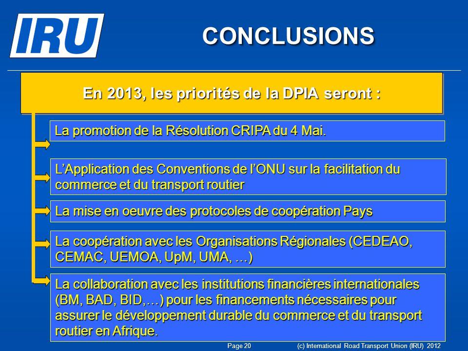 CONCLUSIONS CONCLUSIONS La mise en oeuvre des protocoles de coopération Pays En 2013, les priorités de la DPIA seront : La promotion de la Résolution