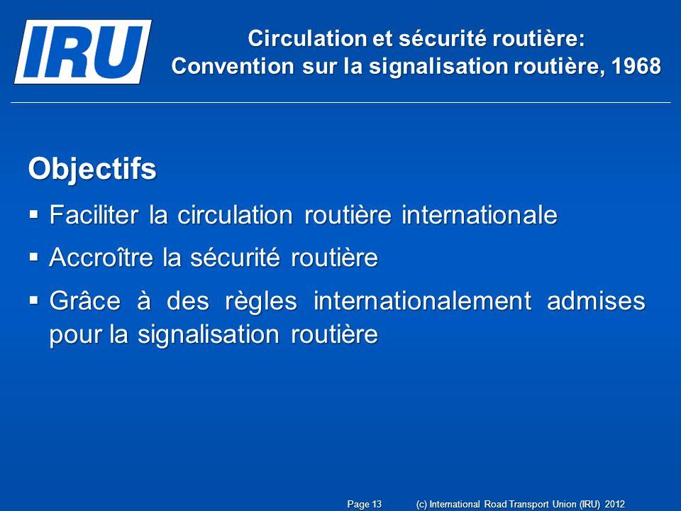 Circulation et sécurité routière: Convention sur la signalisation routière, 1968 Objectifs Faciliter la circulation routière internationale Faciliter
