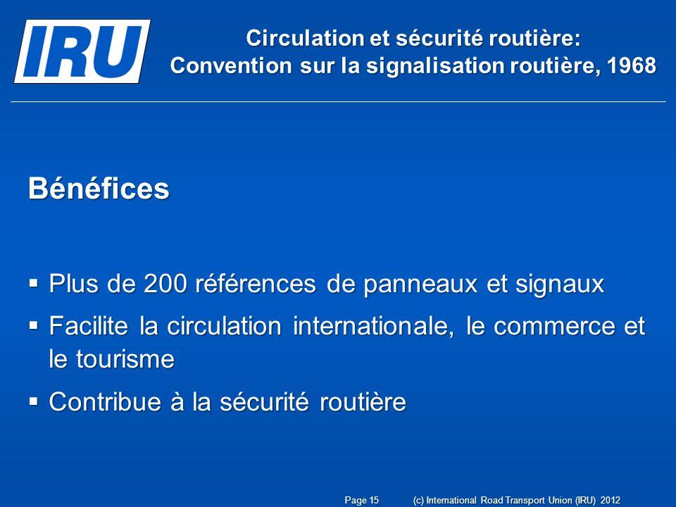Circulation et sécurité routière: Convention sur la signalisation routière, 1968 Bénéfices Plus de 200 références de panneaux et signaux Plus de 200 r