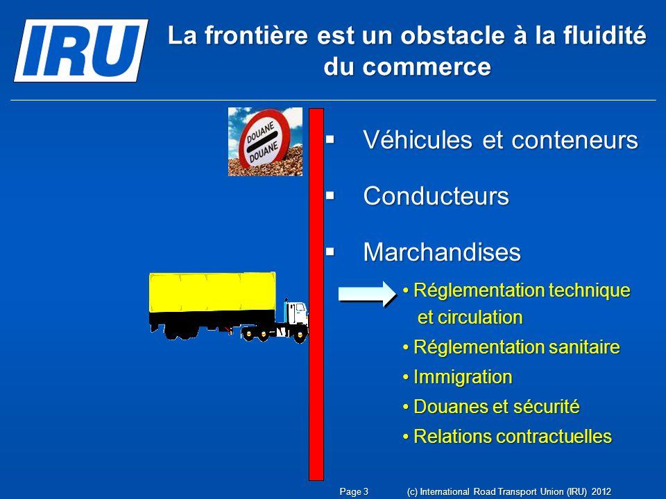 4)Reconnaissance mutuelle des contrôles: Certificat international de pesée La Convention internationale sur lHarmonisation des Contrôles des Marchandises aux Frontières, 21 octobre 1982, et son Annexe 8 (Convention dHarmonisation) Page 34(c) International Road Transport Union (IRU) 2012