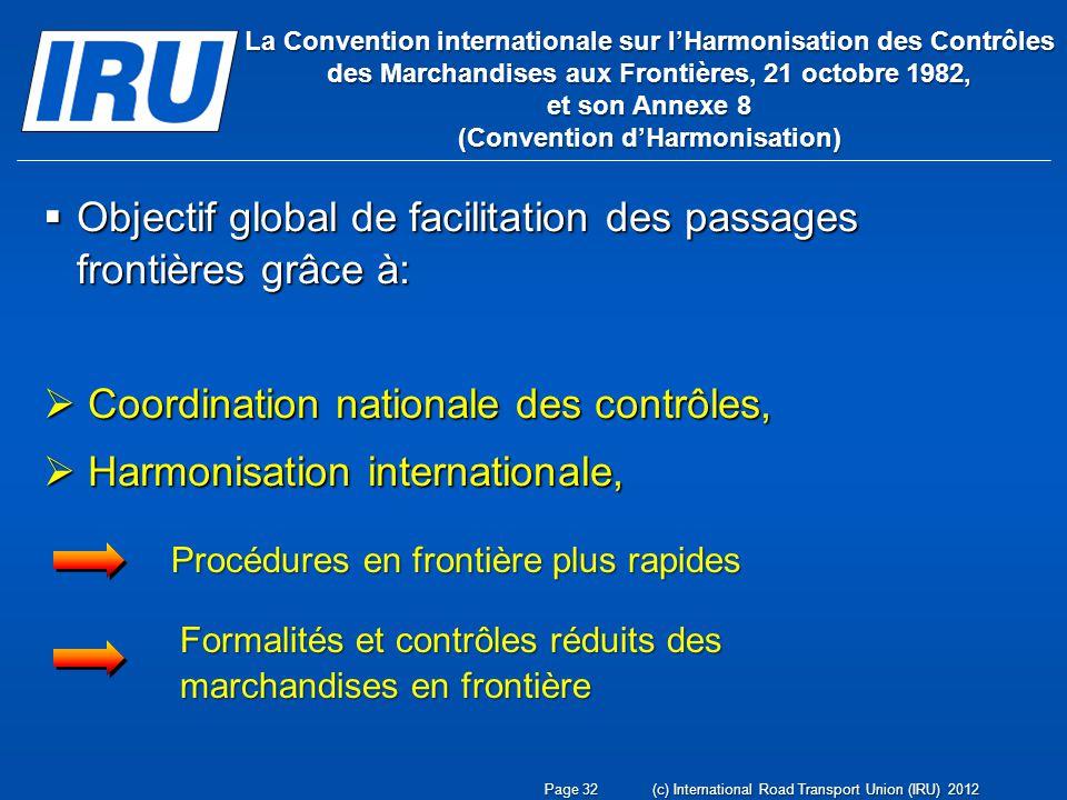 Objectif global de facilitation des passages frontières grâce à: Objectif global de facilitation des passages frontières grâce à: Coordination nationa