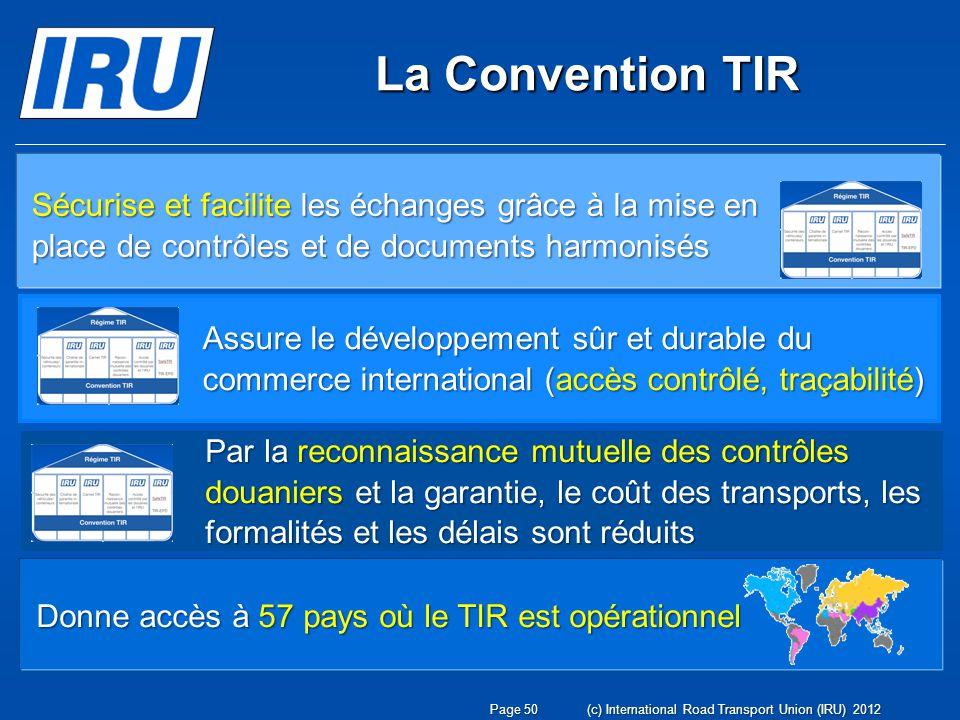 La Convention TIR Assure le développement sûr et durable du commerce international (accès contrôlé, traçabilité) Donne accès à 57 pays où le TIR est o