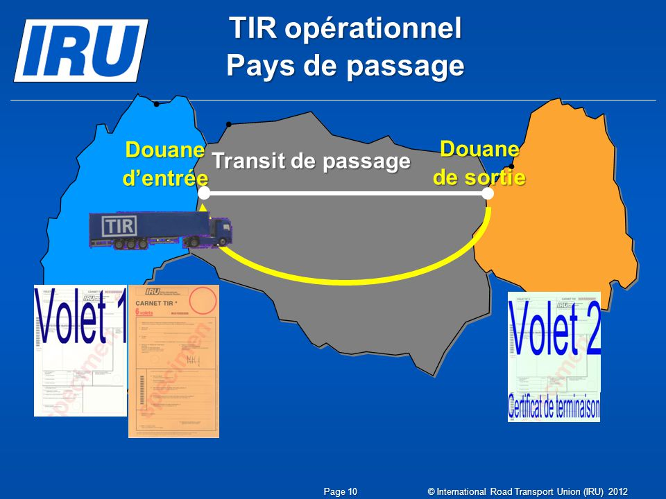 Douane dentrée TIR opérationnel Pays de passage Transit de passage Douane de sortie © International Road Transport Union (IRU) 2012 Page 10