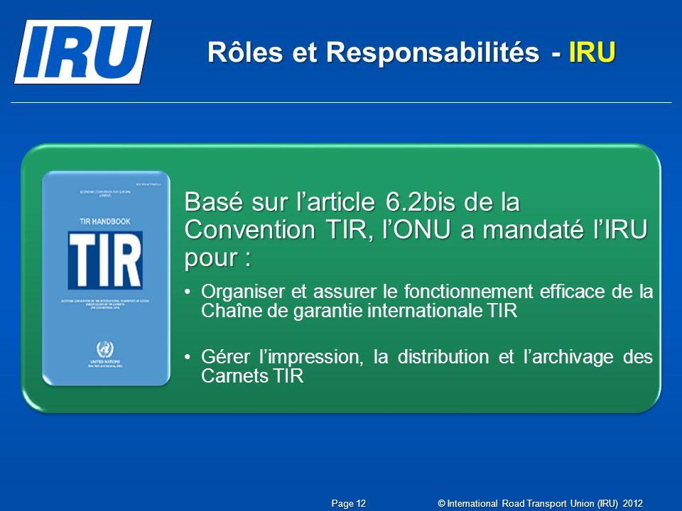 Basé sur larticle 6.2bis de la Convention TIR, lONU a mandaté lIRU pour :Basé sur larticle 6.2bis de la Convention TIR, lONU a mandaté lIRU pour : Org