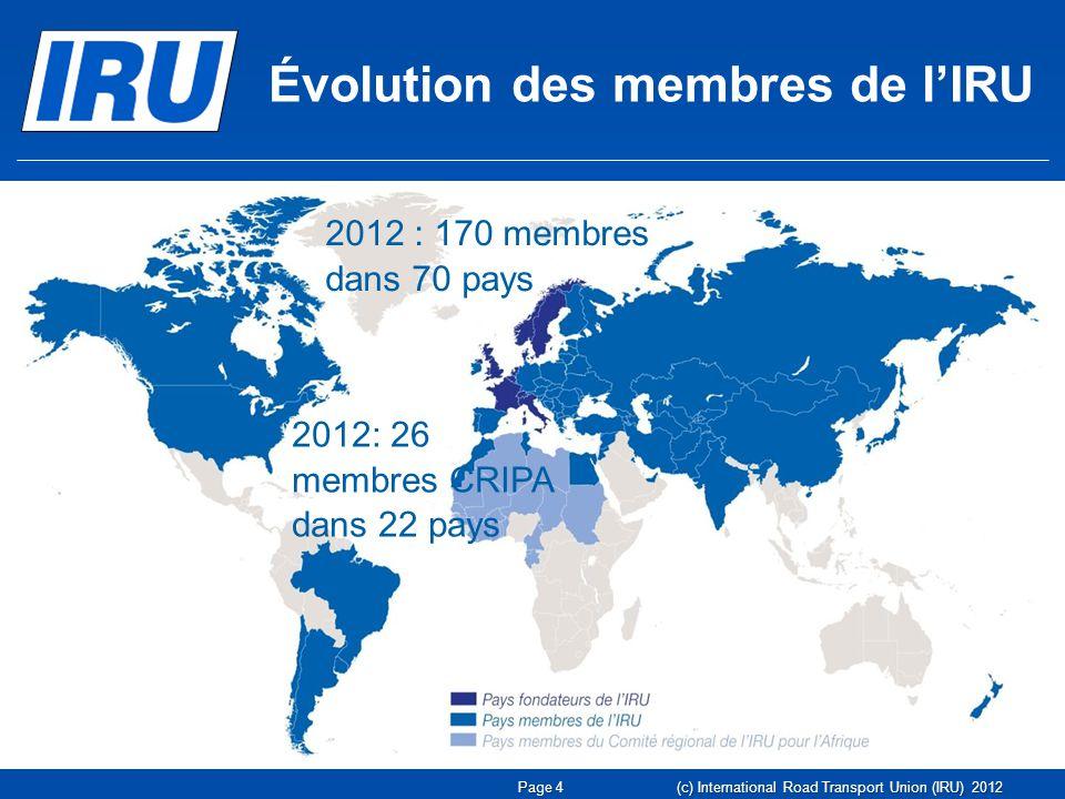 Page 4 Évolution des membres de lIRU 1948 : huit pays fondateurs 2012 : 170 membres dans 70 pays 2012: 26 membres CRIPA dans 22 pays (c) International Road Transport Union (IRU) 2012