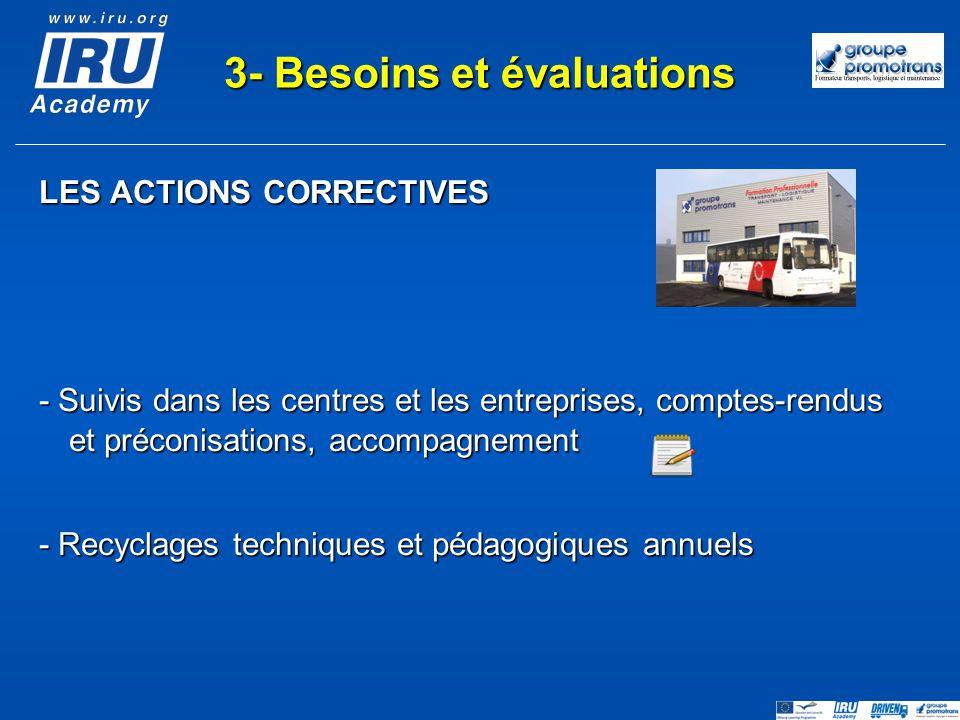 LES ACTIONS CORRECTIVES - Suivis dans les centres et les entreprises, comptes-rendus et préconisations, accompagnement - Recyclages techniques et péda