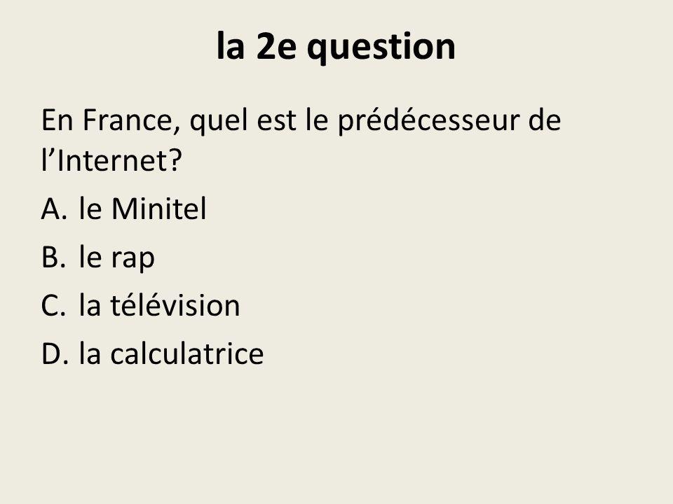 la 3e question Quel genre de musique Nétait PAS populaire (parmi les ados) pendant les années 70 et 80.