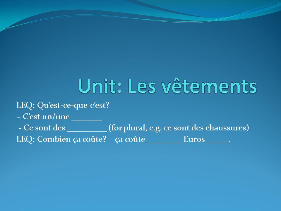 LEQ: Quest-ce-que cest.– Cest un/une _______ - Ce sont des _________ (for plural, e.g.