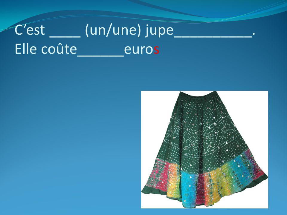 Cest ____ (un/une) jupe__________. Elle coûte______euros