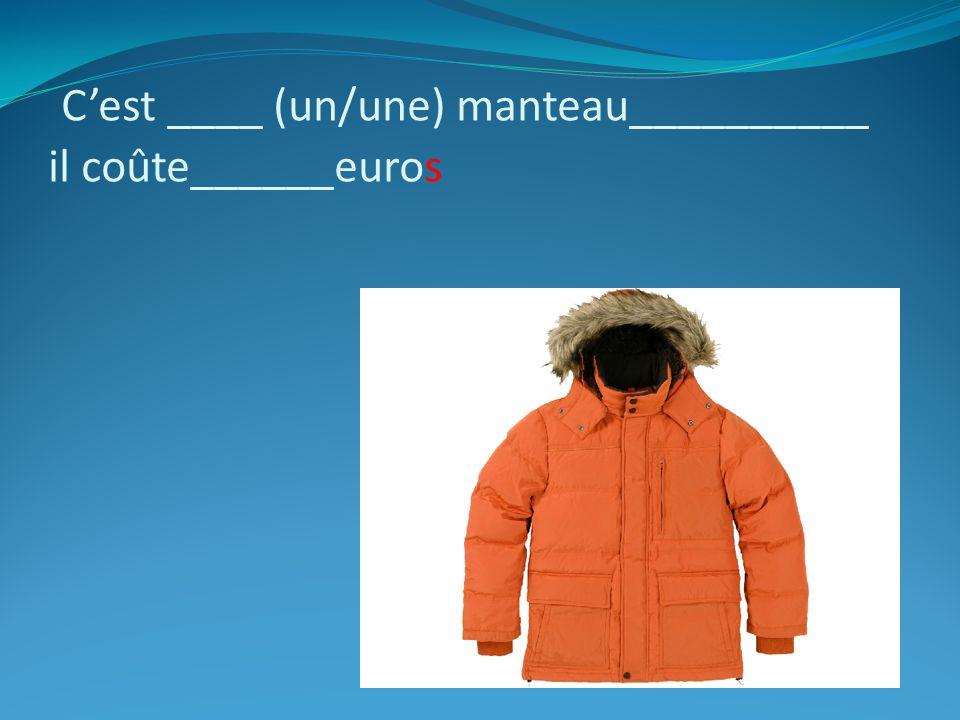 Cest ____ (un/une) manteau__________ il coûte______euros