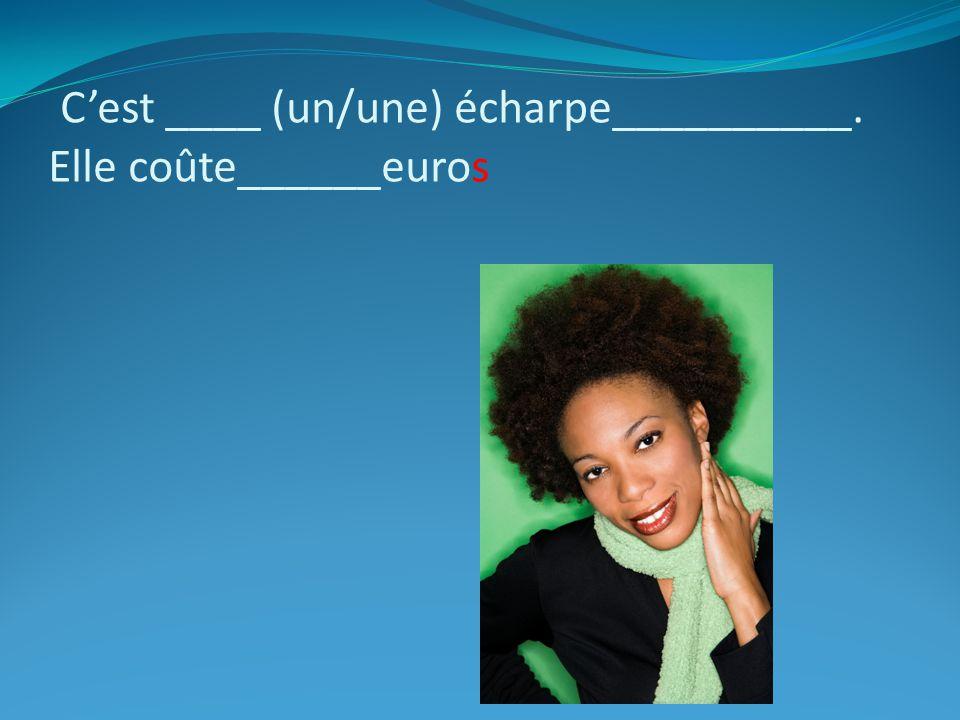 Cest ____ (un/une) écharpe__________. Elle coûte______euros