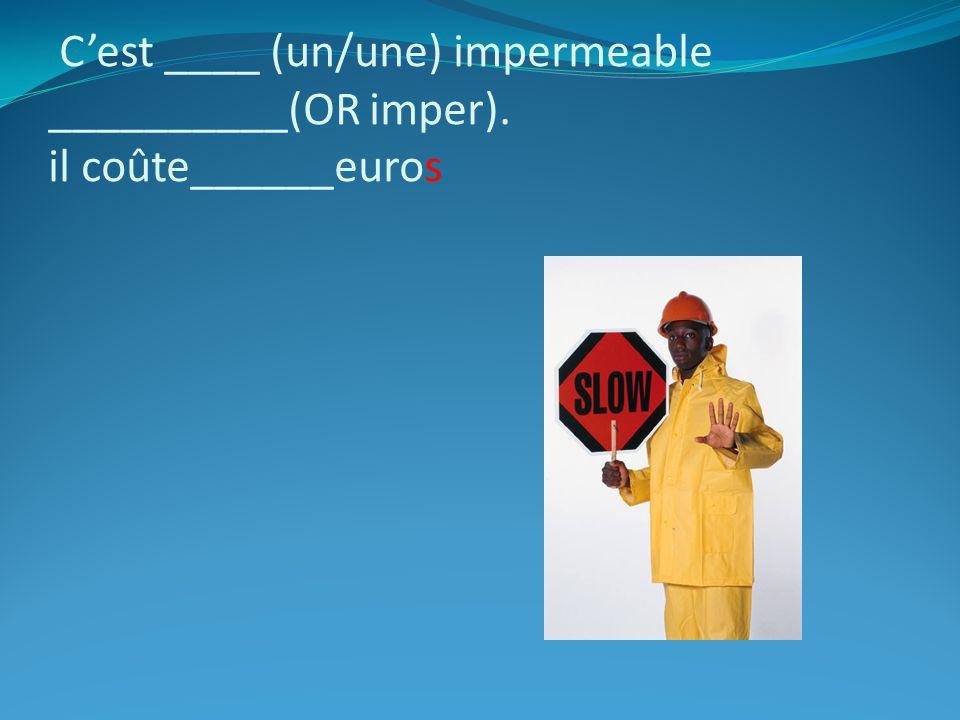 Cest ____ (un/une) impermeable __________(OR imper). il coûte______euros
