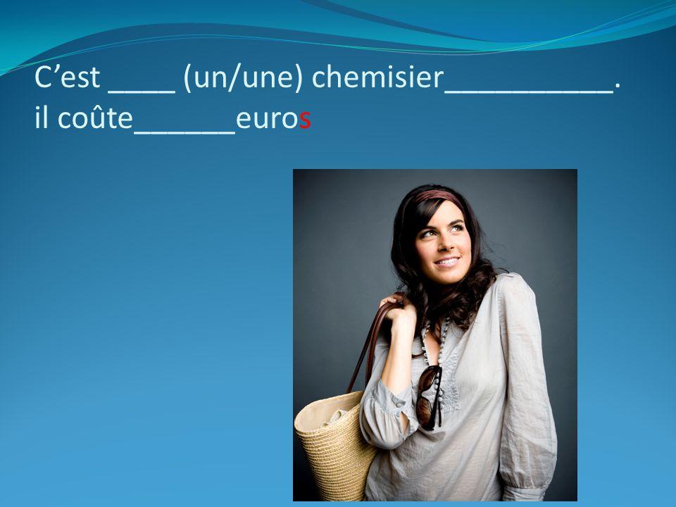 Cest ____ (un/une) chemisier__________. il coûte______euros