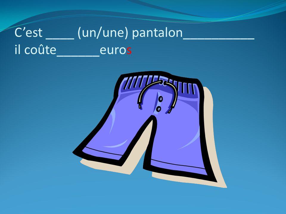 Cest ____ (un/une) pantalon__________ il coûte______euros