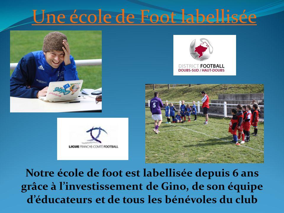 Une école de Foot labellisée Notre école de foot est labellisée depuis 6 ans grâce à linvestissement de Gino, de son équipe déducateurs et de tous les