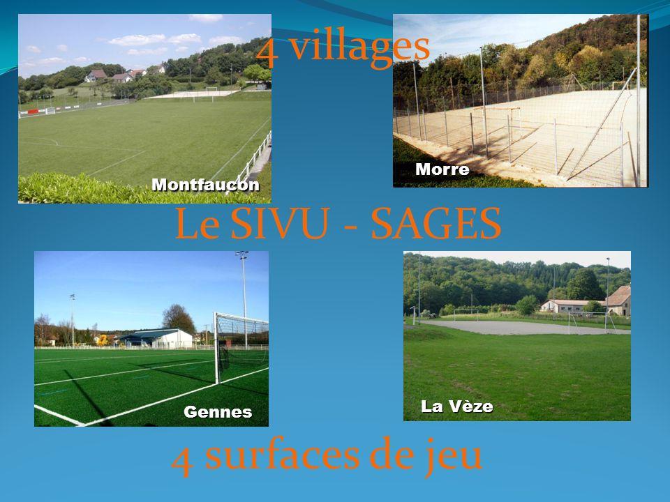 4 surfaces de jeu Montfaucon Morre Gennes La Vèze Le SIVU - SAGES 4 villages
