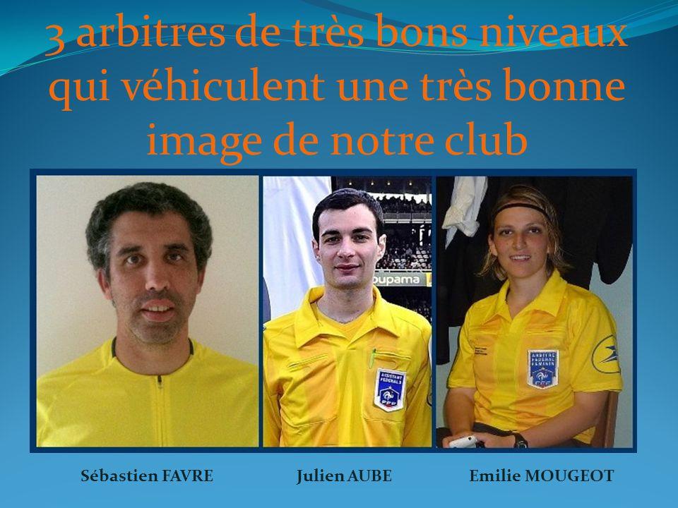 3 arbitres de très bons niveaux qui véhiculent une très bonne image de notre club Sébastien FAVREJulien AUBEEmilie MOUGEOT