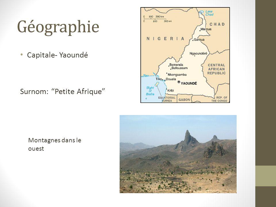 Géographie Capitale- Yaoundé Surnom: Petite Afrique Montagnes dans le ouest