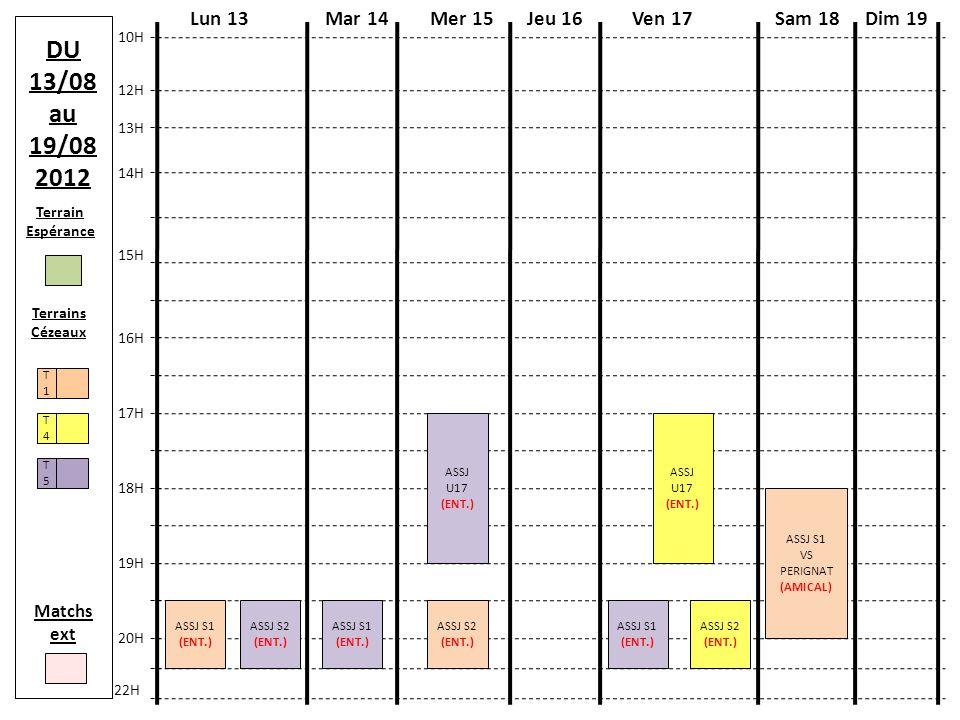 Terrain Espérance Terrains Cézeaux T4T4 T1T1 T5T5 Matchs ext DU 20/08 au 26/08 2012 Mer 22Lun 20Mar 21Jeu 23Ven 24 10H 13H 15H 17H 18H 22H Sam 25Dim 26 12H 14H 16H 19H 20H ASSJ S1 (ENT.) ASSJ S1 (ENT.) ASSJ S1 VS CHAM.
