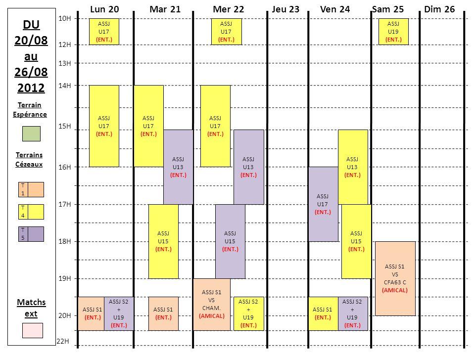 Terrain Espérance Terrains Cézeaux T4T4 T1T1 T5T5 Matchs ext DU 27/08 au 02/09 2012 Mer 29Lun 27Mar 28Jeu 30Ven 31 10H 13H 15H 17H 18H 22H Sam 01/09Dim 02/09 12H 14H 16H 19H 20H REPRISE ECOLE DE FOOT (U9/U11) ASSJ S1 (ENT.) ASSJ S1 VS ASSJ S2 (AMICAL) ASSJ S2 + U19 (ENT.) ASSJ S1 (ENT.) ASSJ S2 + U19 (ENT.) ASSJ U19 (ENT.) ASSJ U19 (ENT.) ASSJ U17 (ENT.) ASSJ U17 (ENT.) ASSJ U17 (ENT.) ASSJ U17 (ENT.) ASSJ U13 (ENT.) ASSJ U13 (ENT.) ASSJ U13 (ENT.) ASSJ U13 (ENT.) REPAS AVEC U13/U15/U17 /EDUCS ASSJ U15 (ENT.) ASSJ U15 (ENT.) ASSJ U15 (ENT.)