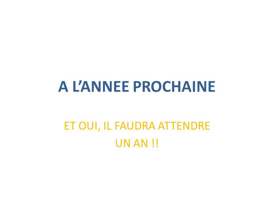 A LANNEE PROCHAINE ET OUI, IL FAUDRA ATTENDRE UN AN !!