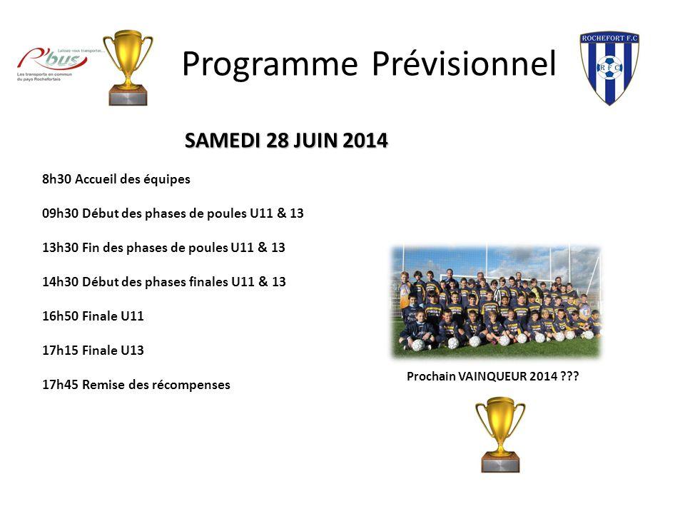 Programme Prévisionnel SAMEDI 28 JUIN 2014 8h30 Accueil des équipes 09h30 Début des phases de poules U11 & 13 13h30 Fin des phases de poules U11 & 13