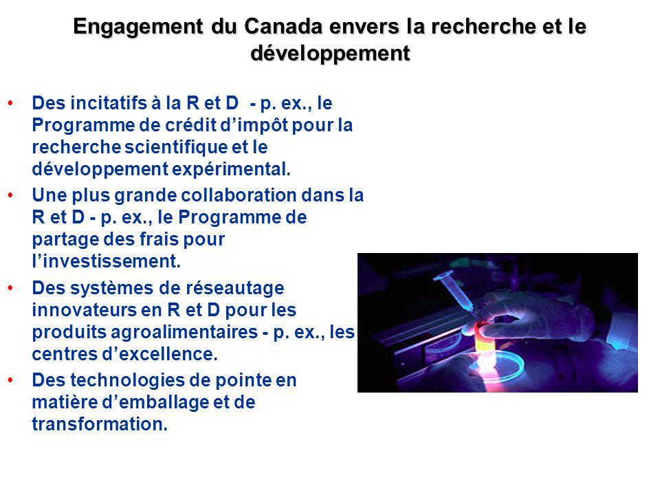 Engagement du Canada envers la recherche et le développement Des incitatifs à la R et D - p. ex., le Programme de crédit dimpôt pour la recherche scie