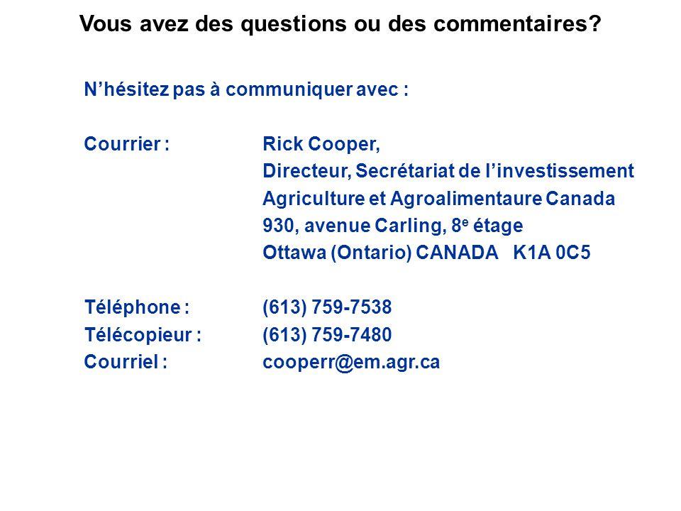 Nhésitez pas à communiquer avec : Courrier :Rick Cooper, Directeur, Secrétariat de linvestissement Agriculture et Agroalimentaure Canada 930, avenue C