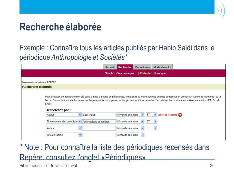 Bibliothèque de l'Université Laval20 Recherche élaborée Exemple : Connaître tous les articles publiés par Habib Saidi dans le périodique Anthropologie