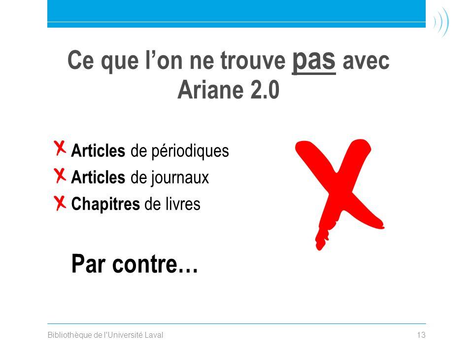 Bibliothèque de l Université Laval13 Articles de périodiques Articles de journaux Chapitres de livres Par contre… Ce que lon ne trouve pas avec Ariane 2.0