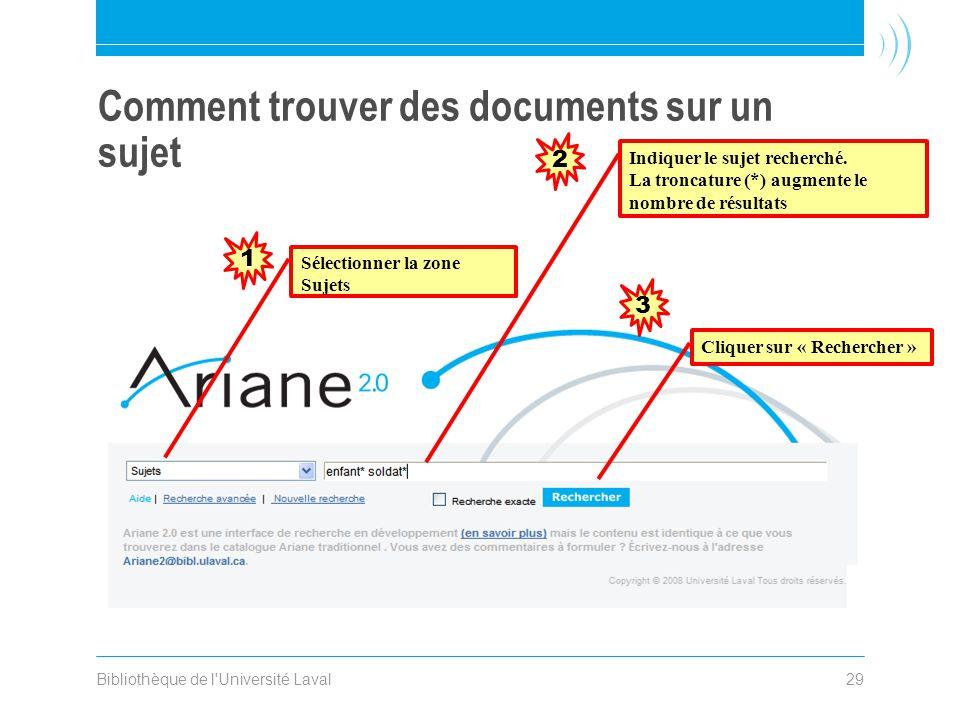 Bibliothèque de l Université Laval29 Comment trouver des documents sur un sujet Sélectionner la zone Sujets Indiquer le sujet recherché.