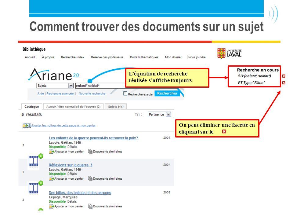 Bibliothèque de l Université Laval31 Comment trouver des documents sur un sujet Léquation de recherche réalisée saffiche toujours On peut éliminer une facette en cliquant sur le