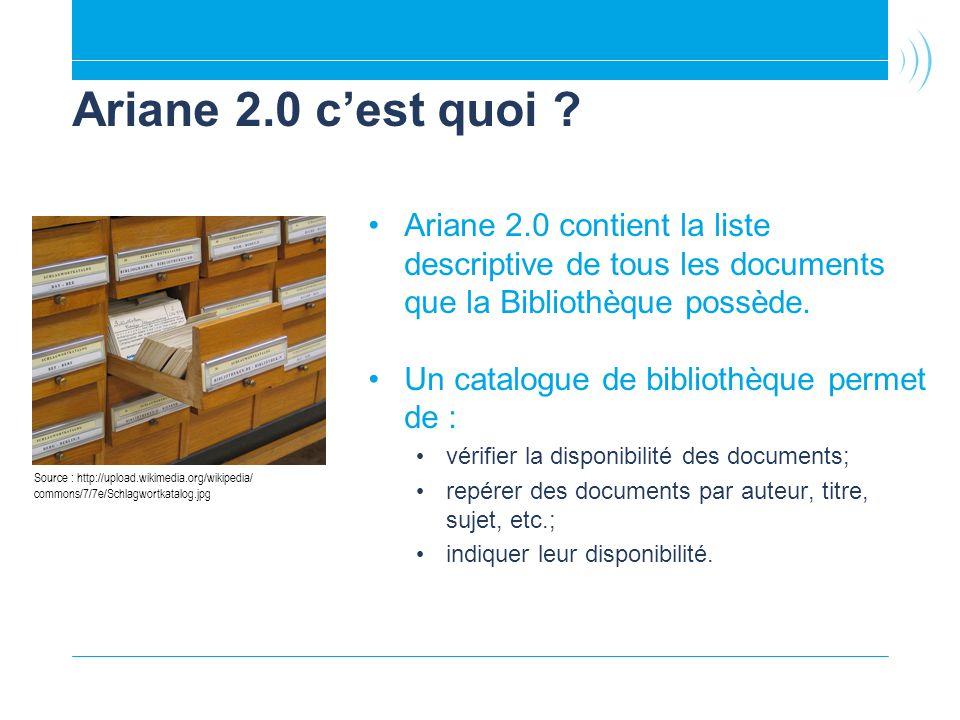 Ariane 2.0 cest quoi ? Ariane 2.0 contient la liste descriptive de tous les documents que la Bibliothèque possède. Un catalogue de bibliothèque permet