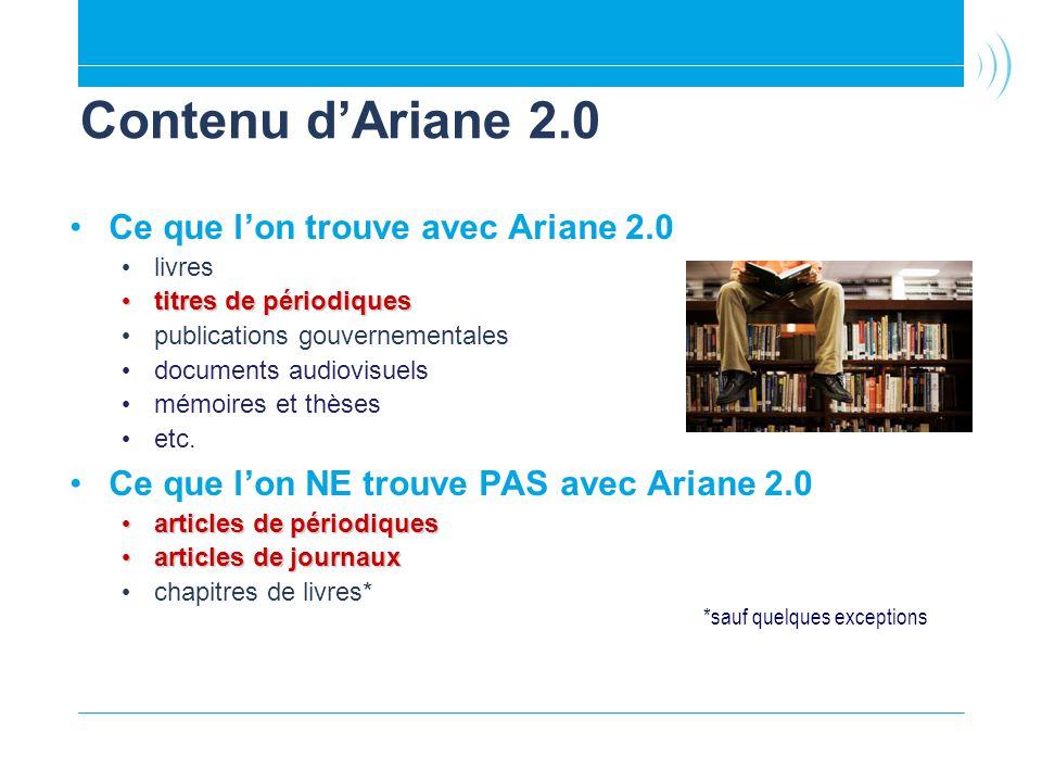 Contenu dAriane 2.0 Ce que lon trouve avec Ariane 2.0 livres titres de périodiques titres de périodiques publications gouvernementales documents audio