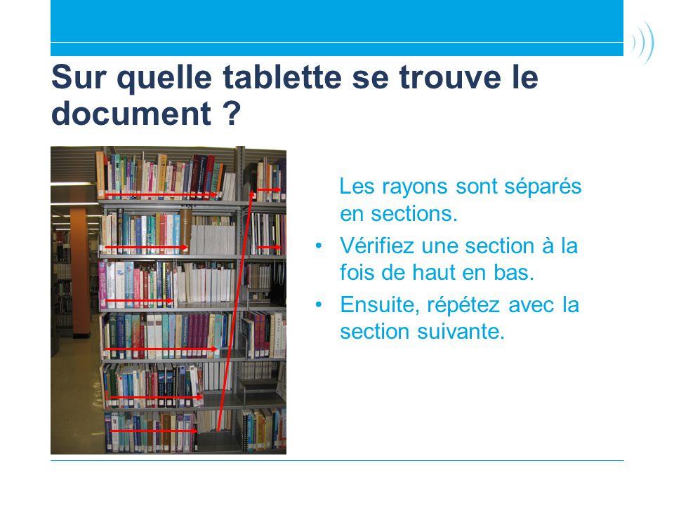 Sur quelle tablette se trouve le document ? Les rayons sont séparés en sections. Vérifiez une section à la fois de haut en bas. Ensuite, répétez avec