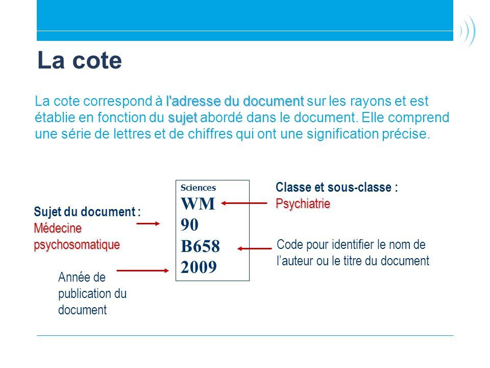 La cote l'adresse du document sujet La cote correspond à l'adresse du document sur les rayons et est établie en fonction du sujet abordé dans le docum
