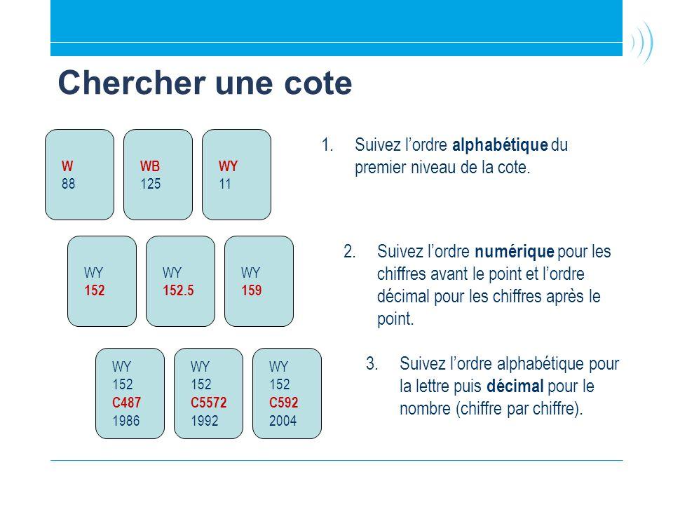 Chercher une cote 1.Suivez lordre alphabétique du premier niveau de la cote. 2.Suivez lordre numérique pour les chiffres avant le point et lordre déci