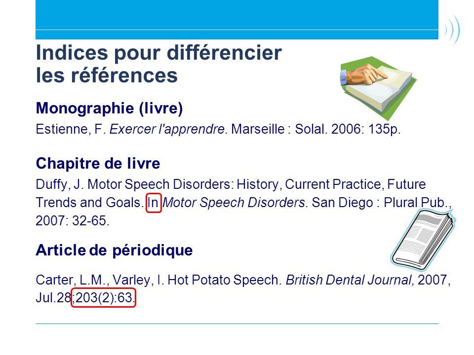 Indices pour différencier les références Monographie (livre) Estienne, F. Exercer l'apprendre. Marseille : Solal. 2006: 135p. Chapitre de livre Duffy,